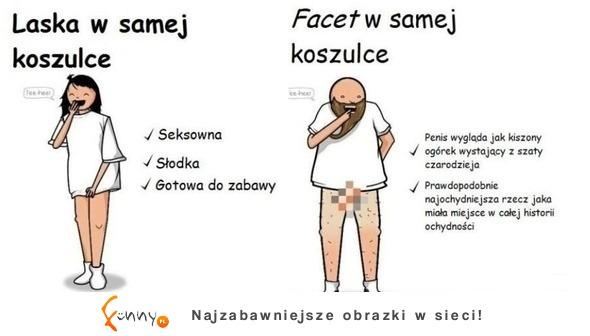 c45f011857e4ff Funny.pl - W samej koszulce - kobieta vs mężczyzna! haha :D