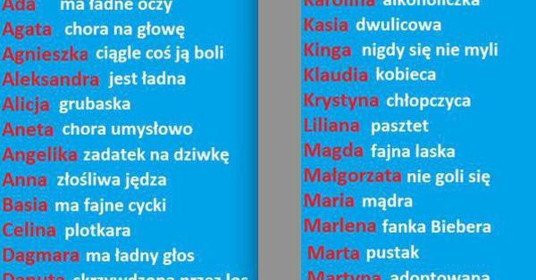 Funny Pl Imiona Kobiet Na Wesoło D